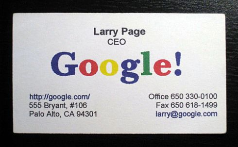 Larry Page Business Card. Talking about fortune, Mark Zuckerberg is now