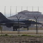 An F-16 jet fighter is parked at the Nato airbase in Aviano, Italy