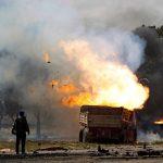 Burned trucks and civilian cars were everywhere