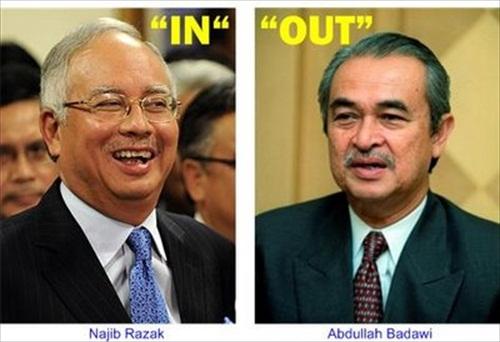 Najib Razak takes over from Abdullah Badawi