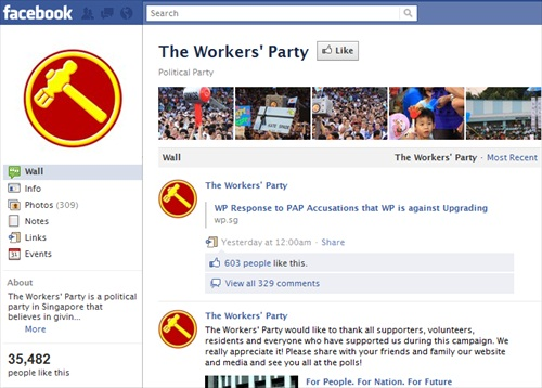 Singapore Workers Party Facebook Like