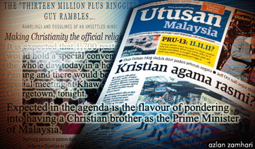 Utusan Malaysia about Christians Conspiracy