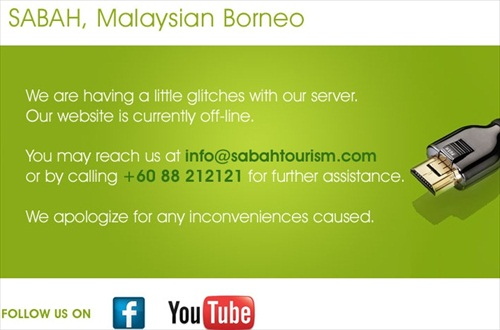 Sabah Tourism WebSite Down Hackers