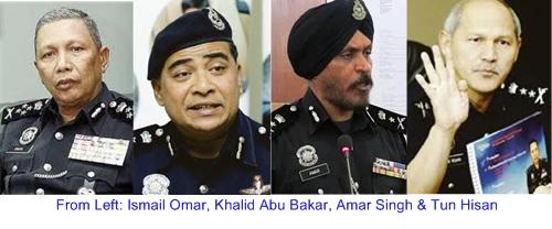 Ismail Omar, Khalid Abu Bakar, Amar Singh & Tun Hisan