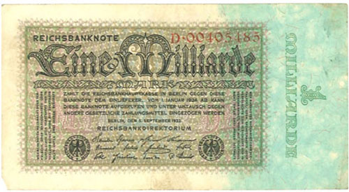 Germany – 1 billion mark, 1923