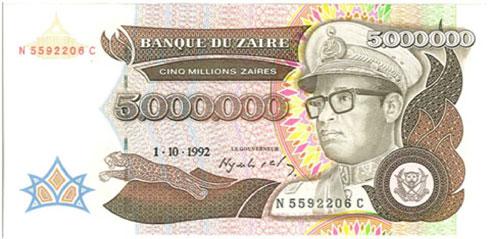 Zaire – 5 million zaires, 1992