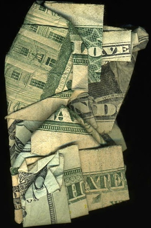 Hidden Message Dollar Bills Love and Hate