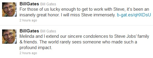 Steve Jobs Died Tributes from Bill Gates