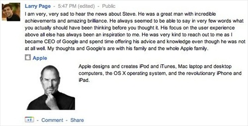 Steve Jobs Died Tributes from Larry Page
