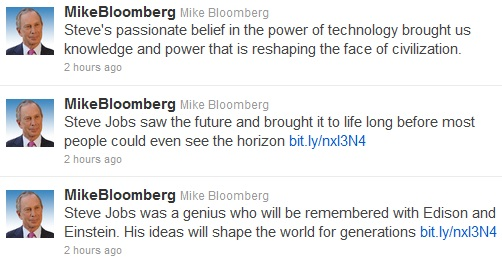 Steve Jobs Dies Tributes from Michael Bloomberg