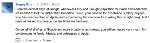 Steve Jobs Died Tributes from Sergey Brin