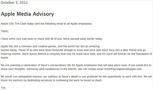 Steve Jobs Died Tributes from Tim Cook