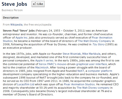 Steve Jobs Facebook Description 1955-2011