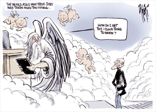Steve Jobs Cartoon Tributes Good Bye