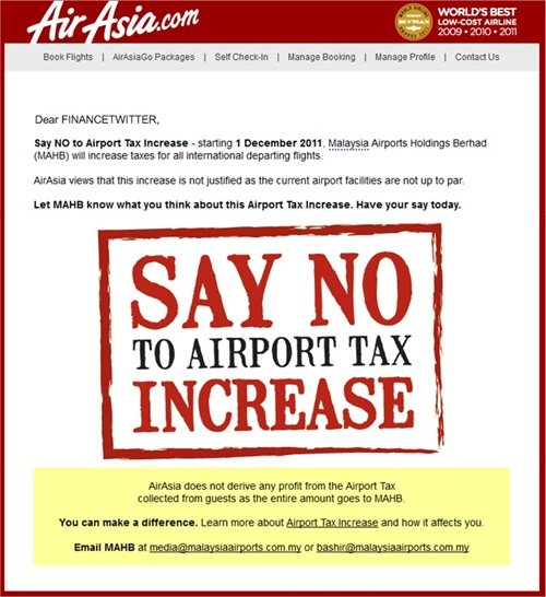 AirAsia Say No To Airport Tax Increase