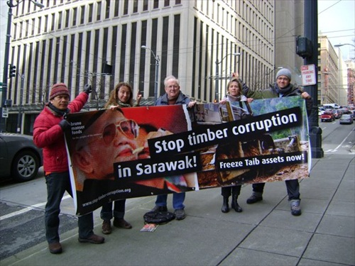 Demonstrators Sarawak Taib Mahmud Corruption