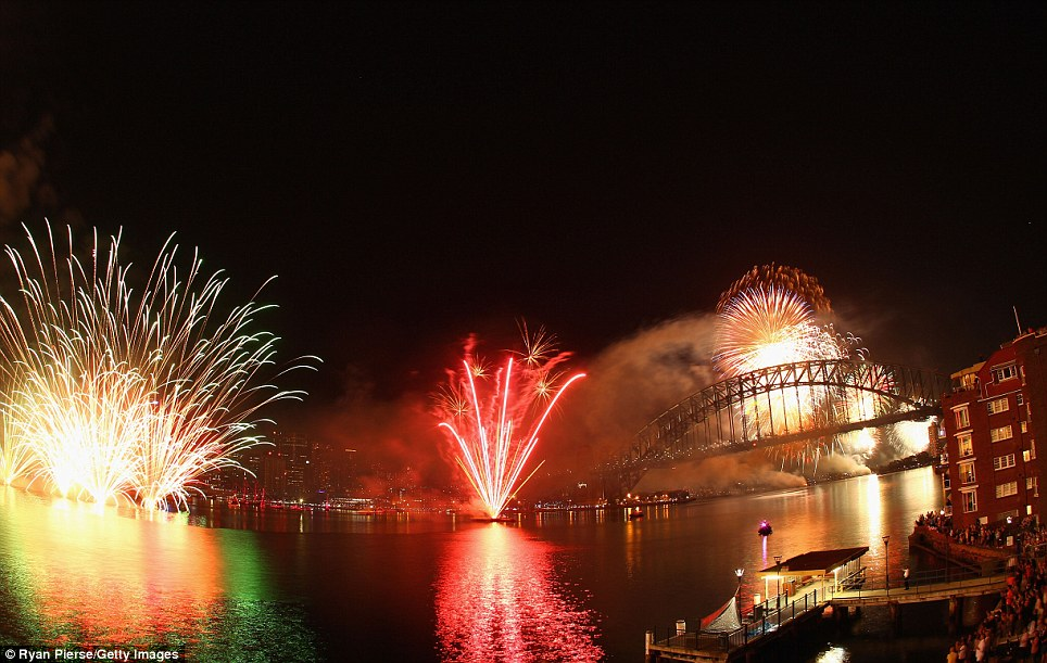 New Year 2012 Fireworks - Australia Sydney Opera House and Harbour Bridge