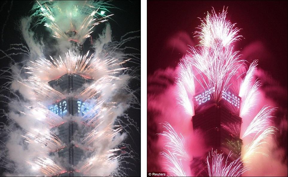 New Year 2012 Fireworks - Taiwan Taipei