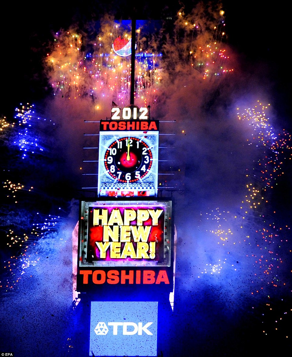 New Year 2012 Fireworks - USA New York Times Square