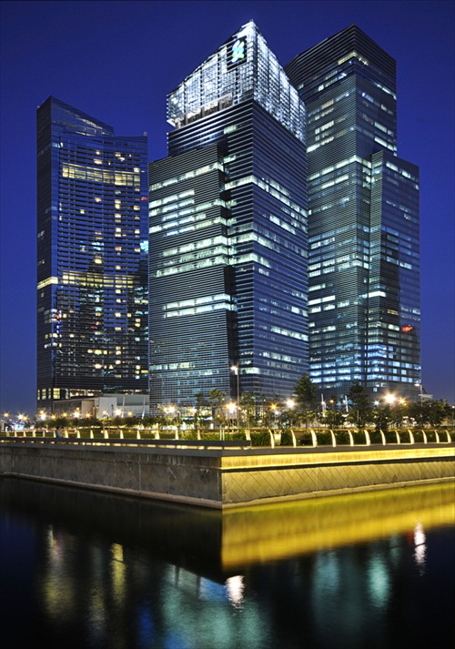 Marina Bay Suites Financial Center night scene