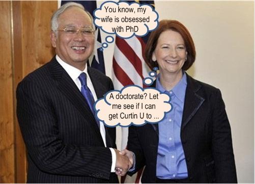 Najib Gillard Rosmah doctorate
