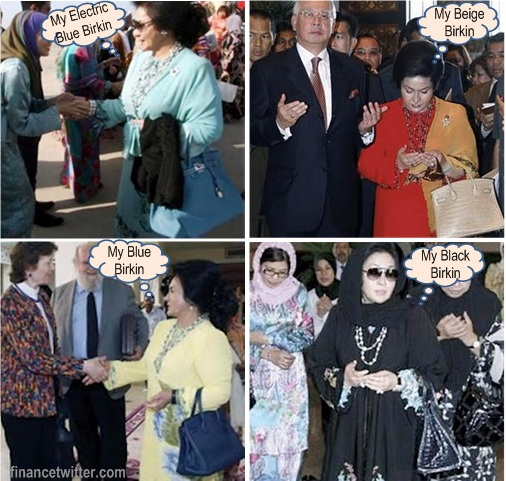 Rosmah Mansor Hermes Birkin Bags Blue Black Beige