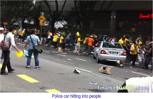Bersih 3.0 Police Car Hitting People 2