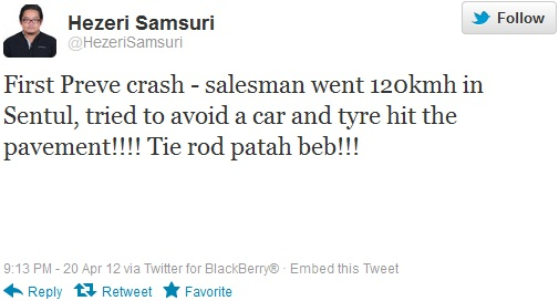 Hezeri Samsuri Tweet First Preve Crash