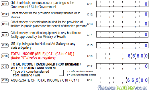 Income Tax BE Form Part C - Example 2