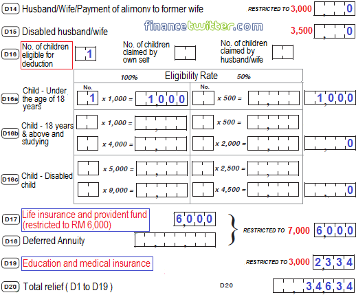 Income Tax BE Form Part D Deductions - Example 2