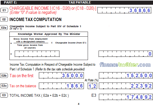 Income Tax BE Form Part E Tax Payable - Example 1