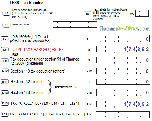 Income Tax BE Form Part E Tax Payable - Example 2