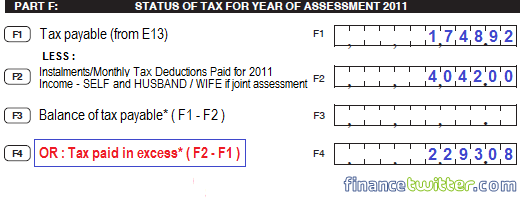 BE Form Part F Tax Status - Example 1