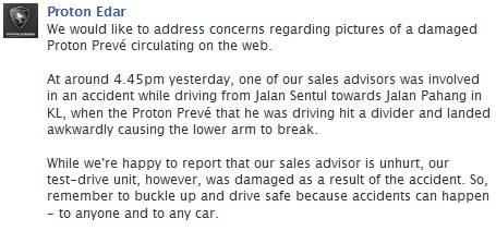 Proton Preve Broke Down - Proton Facebook Reaction