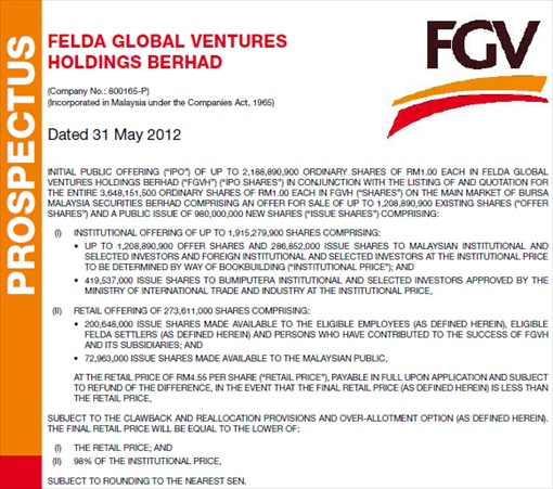 Felda Global Ventures Holdings FGVH Prospectus