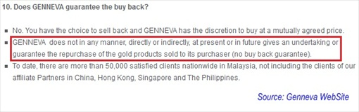 Genneva Gold - No Buyback Guarantee