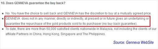 Genneva Gold - No Buyback Guarantee