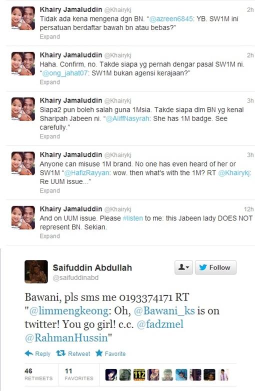 Sharifah Zohra Jabeen - Khairy and Saifuddin Twitter