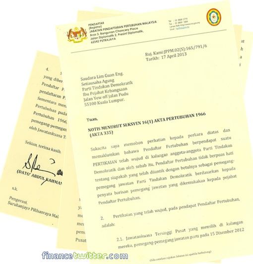 13 General Election - ROS vs DAP - Letter