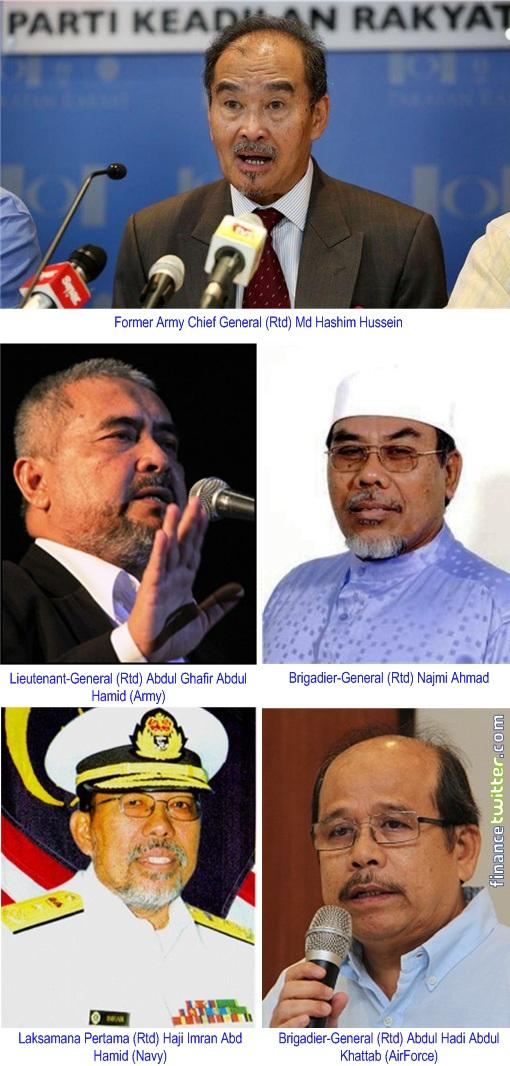 Malaysia 13 General Election - Generals Md Hashim Hussein, Abdul Ghafir Abdul Hamid, Abdul Hadi Abdul Khattab, Haji Imran Abd Hamid, Najmi Ahmad