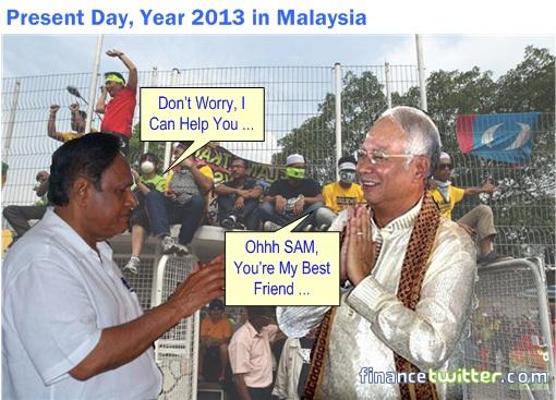 Malaysia 13 General Election - Samy Vellu Helps Najib