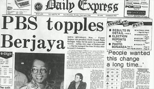 Sabah 1985 State Election - PBS topples Berjaya