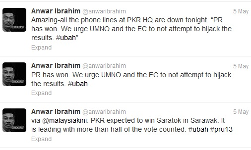 13 General Election - Anwar Tweet PR has Won