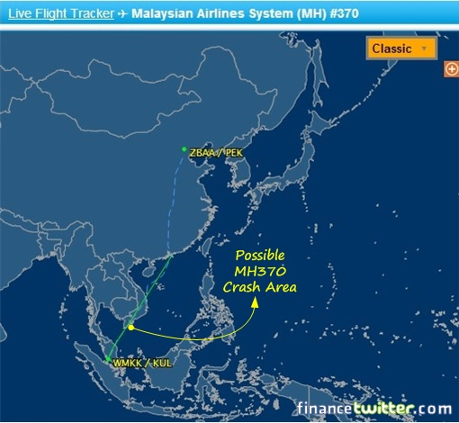 Malaysia MH370 Missing - Flight Route