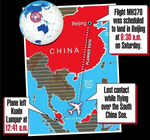 Malaysia MH370 Missing - Scheduled Route