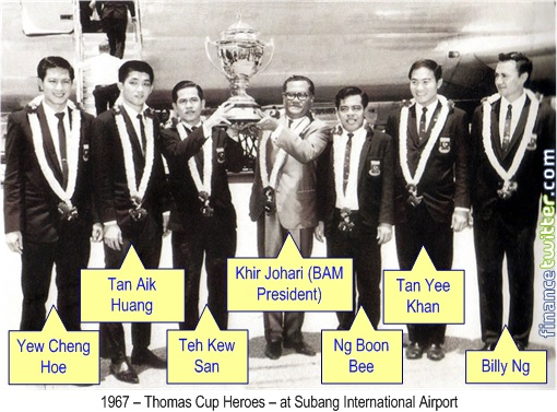 Malaysia 1967 Thomas Cup Victory - Heroes at Subang International Airport