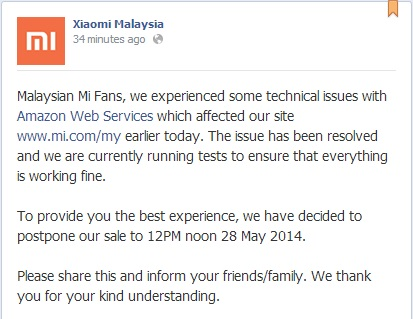 Xiaomi Malaysia  - Mi3 and Powerbank Postponed to 28-May-2014 Message
