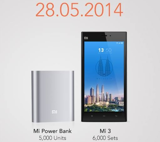 Xiaomi Malaysia  - Mi3 and Powerbank Postponed to 28-May-2014