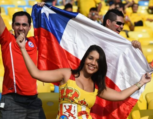2014 FIFA World Cup - Chile Fans Celebrating Win Against Spain