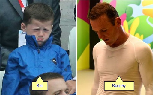 2014 FIFA World Cup - England Lost to Uruguay - Dejected Kai and Rooney